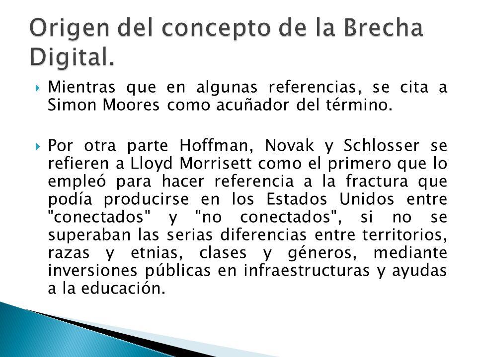 Mientras que en algunas referencias, se cita a Simon Moores como acuñador del término. Por otra parte Hoffman, Novak y Schlosser se refieren a Lloyd M