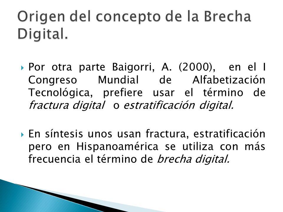 Por otra parte Baigorri, A. (2000), en el I Congreso Mundial de Alfabetización Tecnológica, prefiere usar el término de fractura digital o estratifica