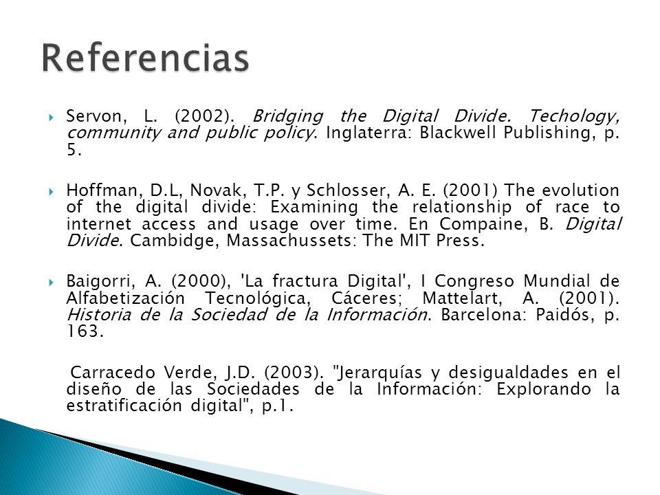 Servon, L.(2002). Bridging the Digital Divide. Techology, community and public policy.