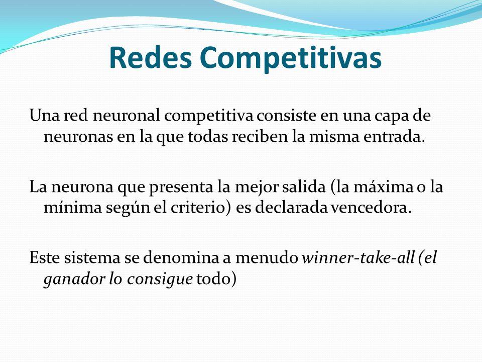 Redes Competitivas Una red neuronal competitiva consiste en una capa de neuronas en la que todas reciben la misma entrada. La neurona que presenta la