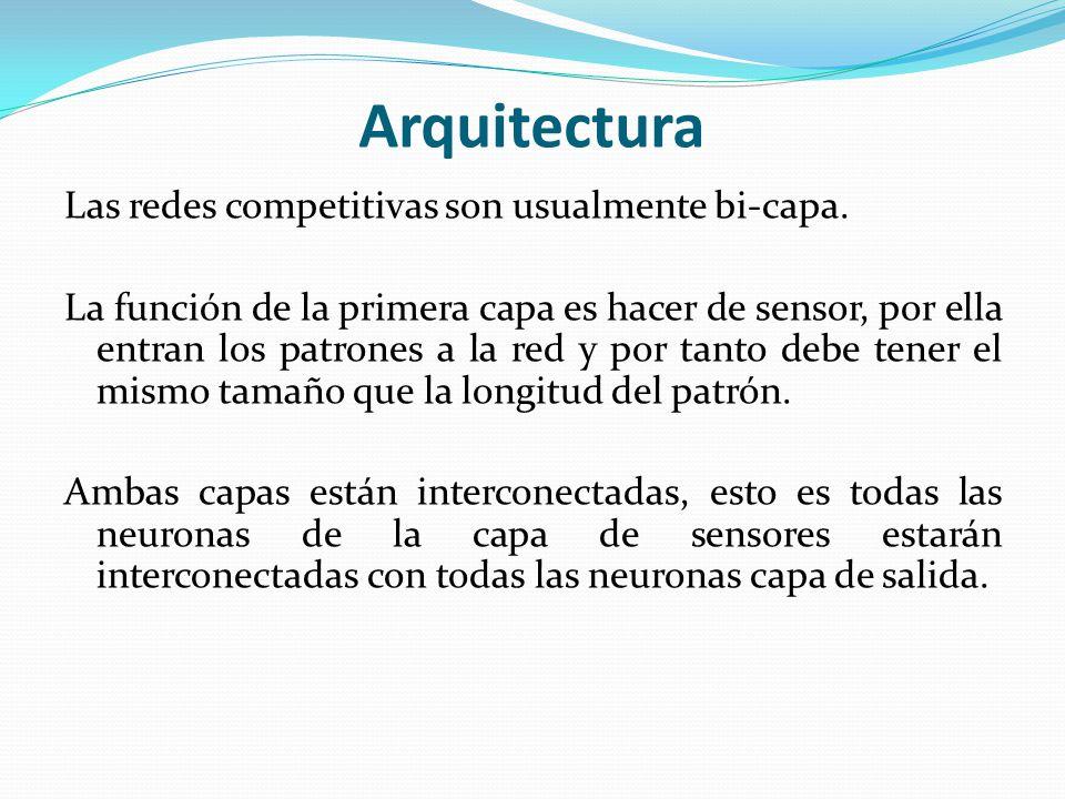 Arquitectura Las redes competitivas son usualmente bi-capa. La función de la primera capa es hacer de sensor, por ella entran los patrones a la red y