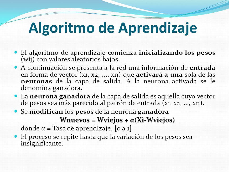 Algoritmo de Aprendizaje El algoritmo de aprendizaje comienza inicializando los pesos (wij) con valores aleatorios bajos. A continuación se presenta a