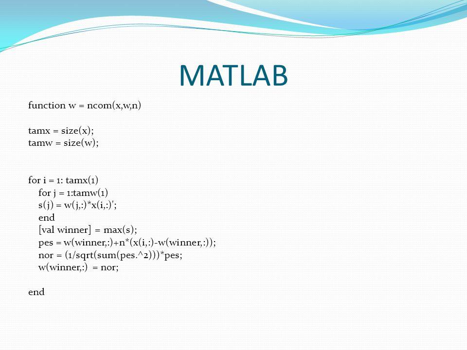 MATLAB function w = ncom(x,w,n) tamx = size(x); tamw = size(w); for i = 1: tamx(1) for j = 1:tamw(1) s(j) = w(j,:)*x(i,:)'; end [val winner] = max(s);