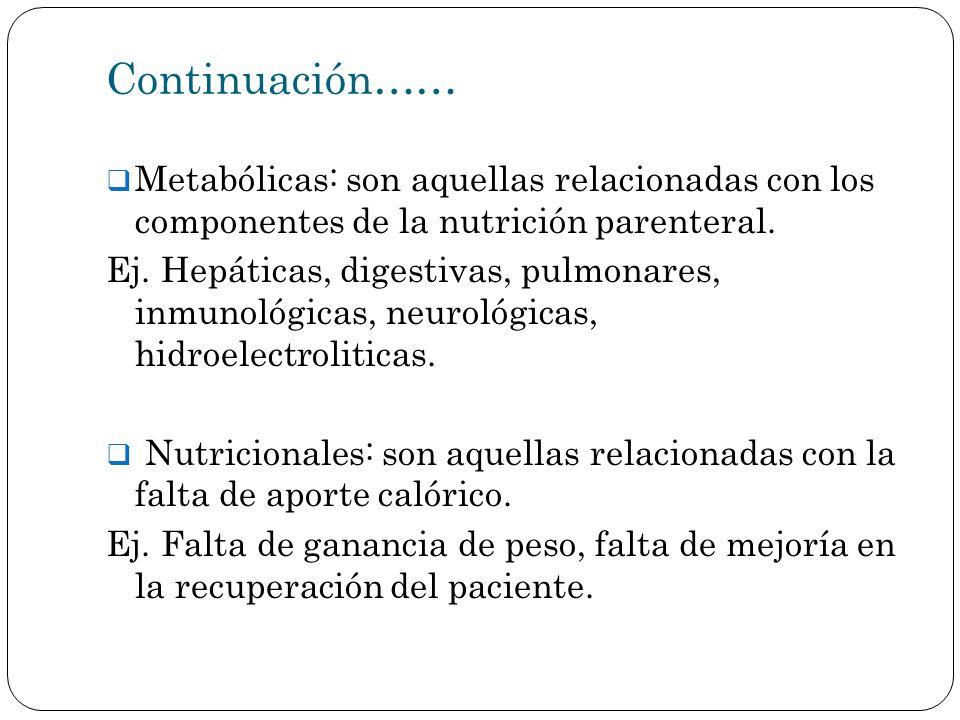 Continuación…… Metabólicas: son aquellas relacionadas con los componentes de la nutrición parenteral. Ej. Hepáticas, digestivas, pulmonares, inmunológ