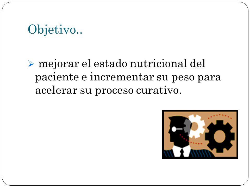 Objetivo.. mejorar el estado nutricional del paciente e incrementar su peso para acelerar su proceso curativo.