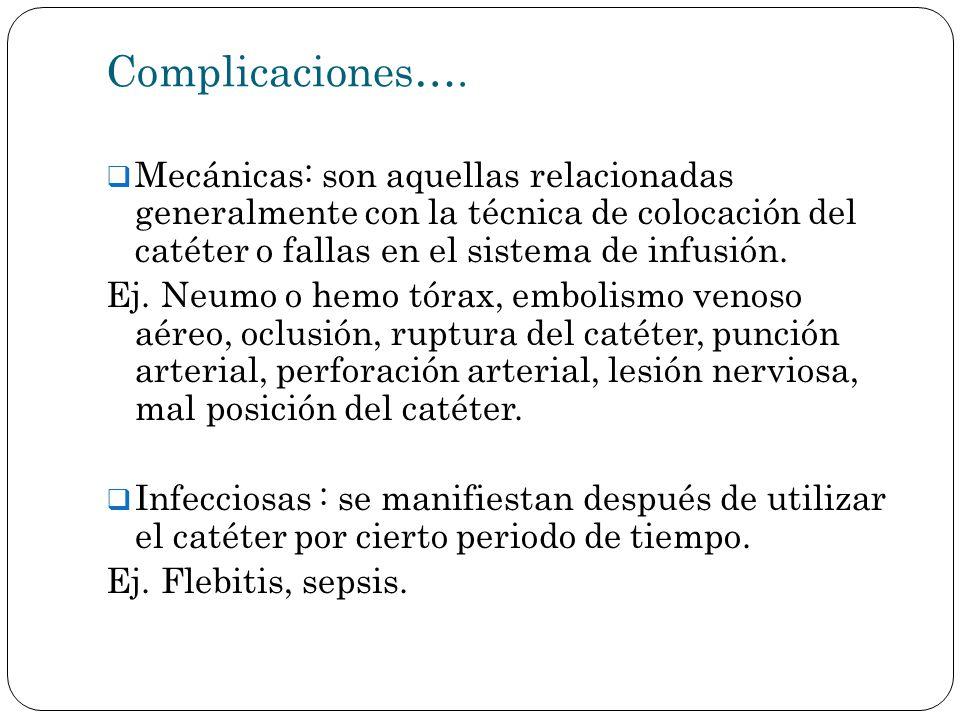 Complicaciones…. Mecánicas: son aquellas relacionadas generalmente con la técnica de colocación del catéter o fallas en el sistema de infusión. Ej. Ne