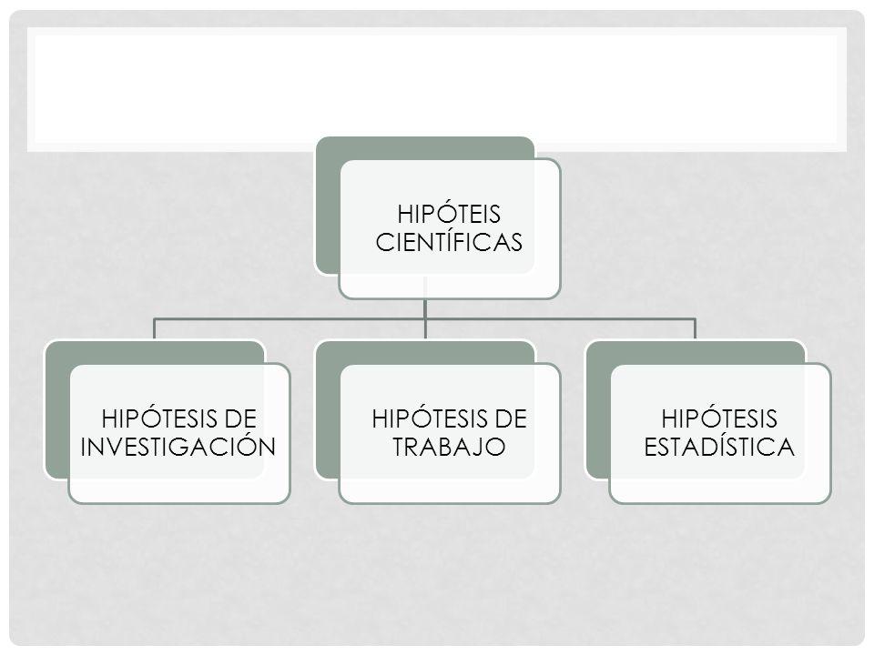 HIPÓTEIS CIENTÍFICAS HIPÓTESIS DE INVESTIGACIÓN HIPÓTESIS DE TRABAJO HIPÓTESIS ESTADÍSTICA