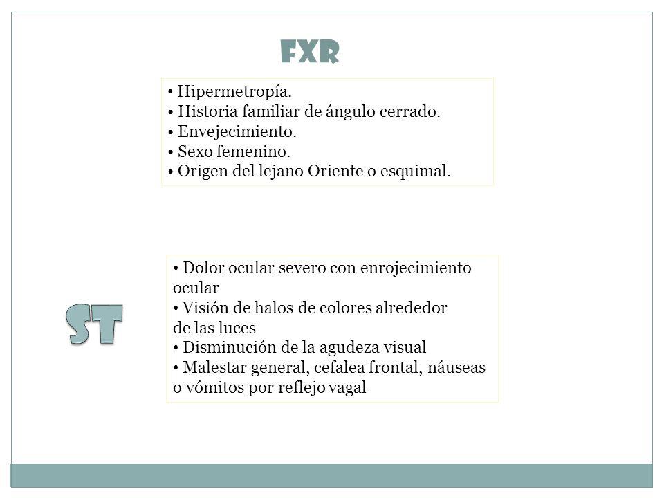 FxR Hipermetropía.Historia familiar de ángulo cerrado.