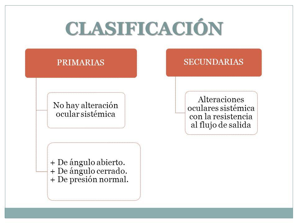 CLASIFICACIÓN PRIMARIAS No hay alteración ocular sistémica + De ángulo abierto.