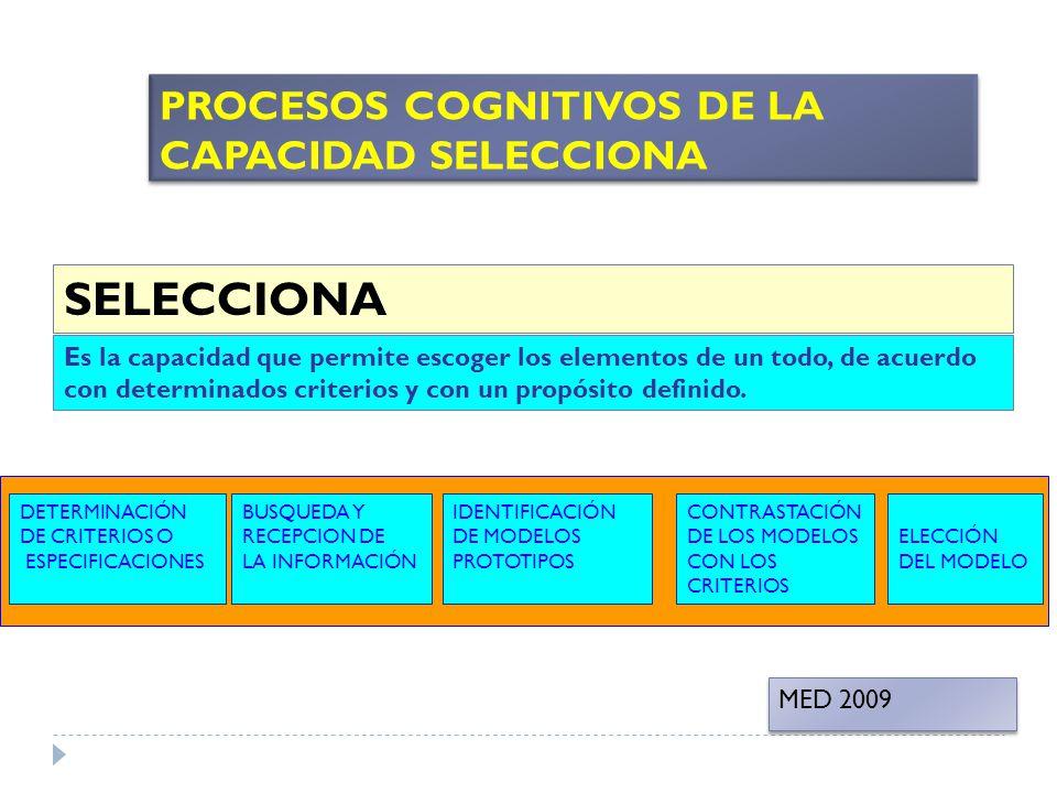 SELECCIONA Es la capacidad que permite escoger los elementos de un todo, de acuerdo con determinados criterios y con un propósito definido. BUSQUEDA Y