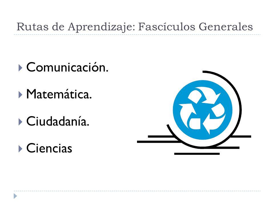 Rutas de Aprendizaje: Fascículos Generales Comunicación. Matemática. Ciudadanía. Ciencias