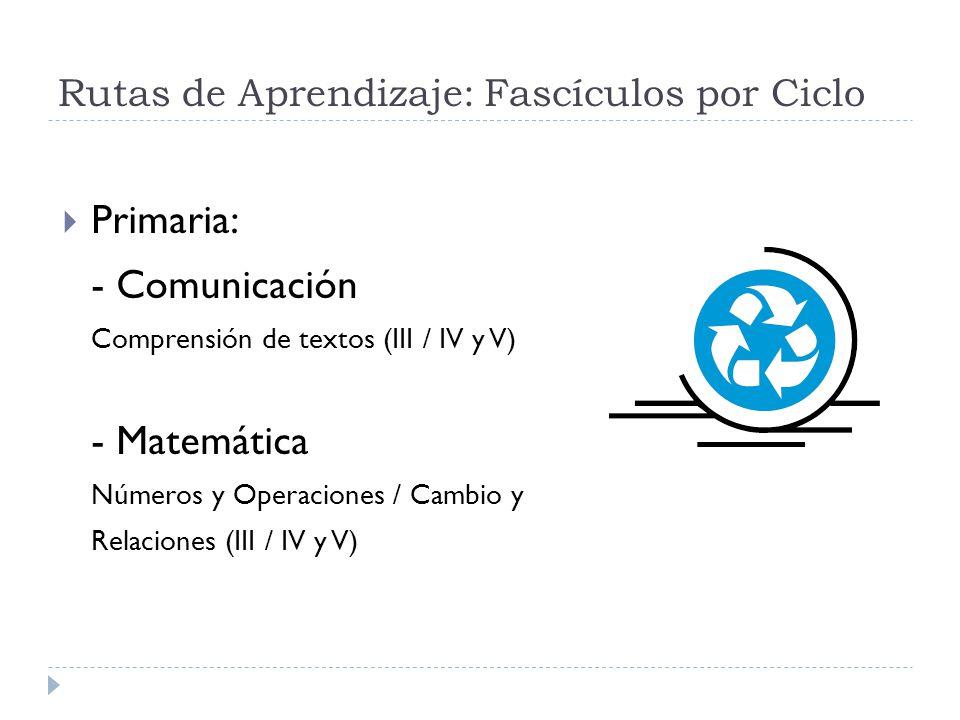 Rutas de Aprendizaje: Fascículos por Ciclo Primaria: - Comunicación Comprensión de textos (III / IV y V) - Matemática Números y Operaciones / Cambio y