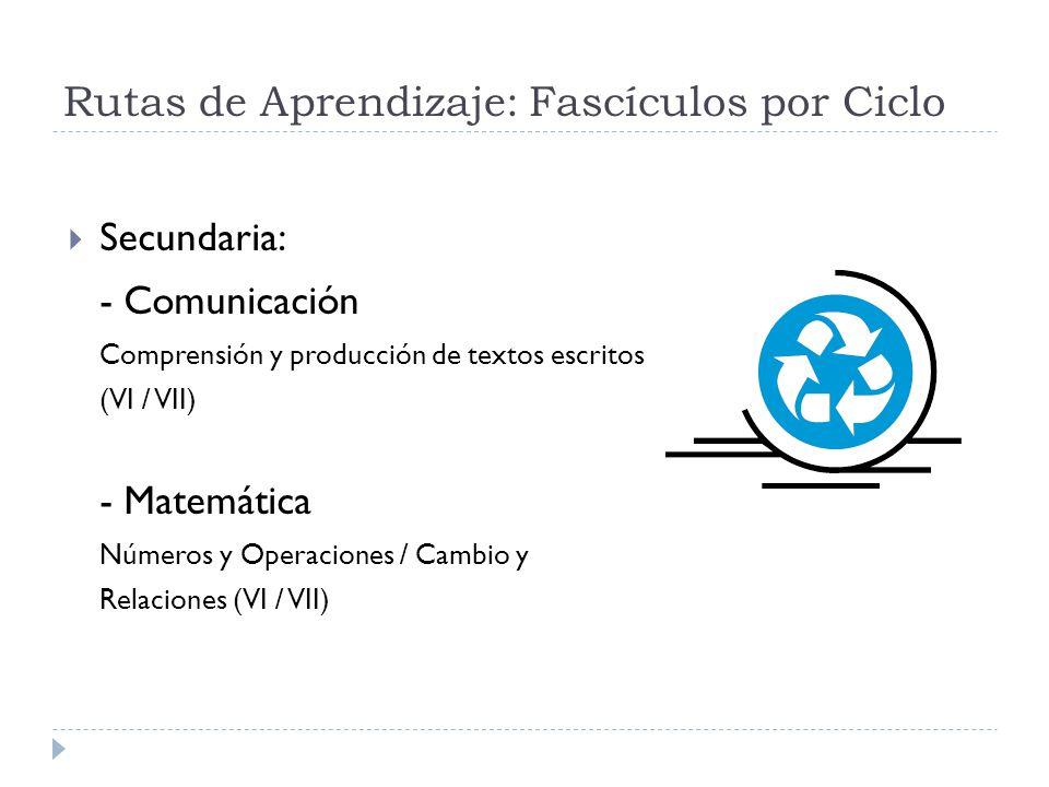 Rutas de Aprendizaje: Fascículos por Ciclo Secundaria: - Comunicación Comprensión y producción de textos escritos (VI / VII) - Matemática Números y Op