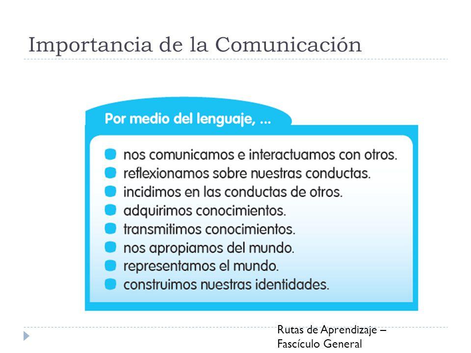 Importancia de la Comunicación Rutas de Aprendizaje – Fascículo General Comunicación