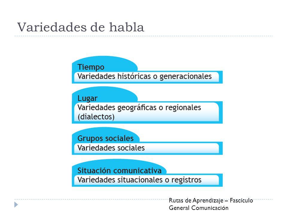 Variedades de habla Rutas de Aprendizaje – Fascículo General Comunicación