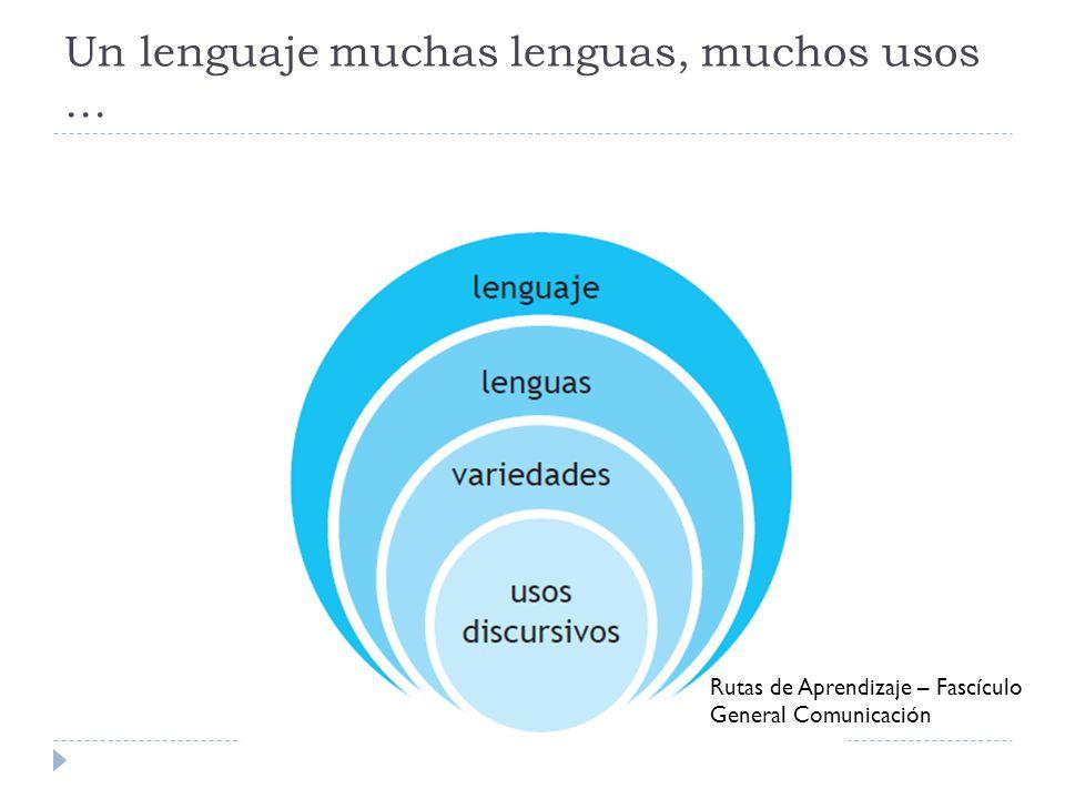 Un lenguaje muchas lenguas, muchos usos … Rutas de Aprendizaje – Fascículo General Comunicación