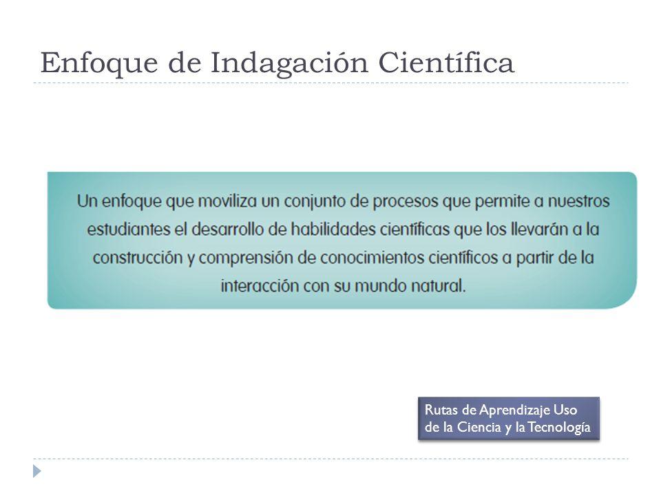 Enfoque de Indagación Científica Rutas de Aprendizaje Uso de la Ciencia y la Tecnología