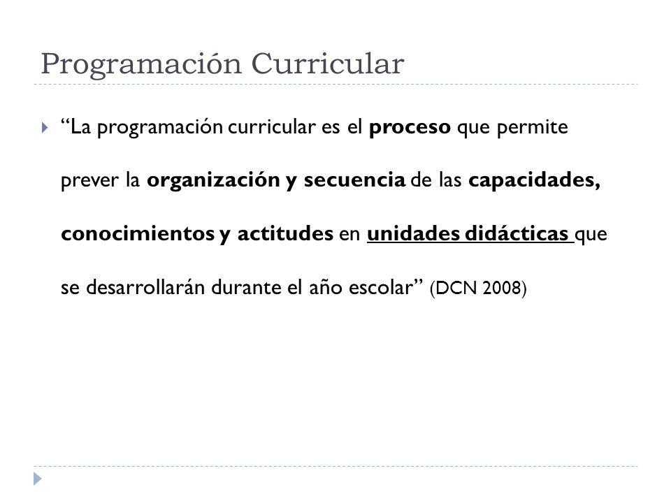 Programación Curricular La programación curricular es el proceso que permite prever la organización y secuencia de las capacidades, conocimientos y ac