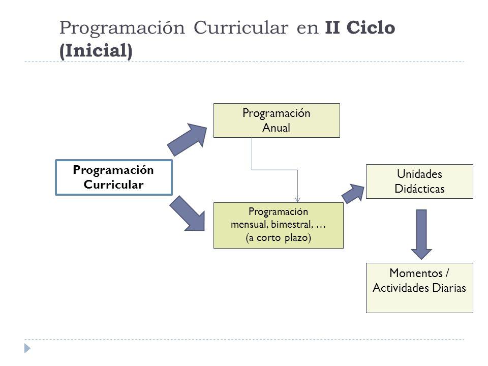 Programación Curricular en II Ciclo (Inicial) Programación Curricular Programación Anual Programación mensual, bimestral, … (a corto plazo) Unidades D