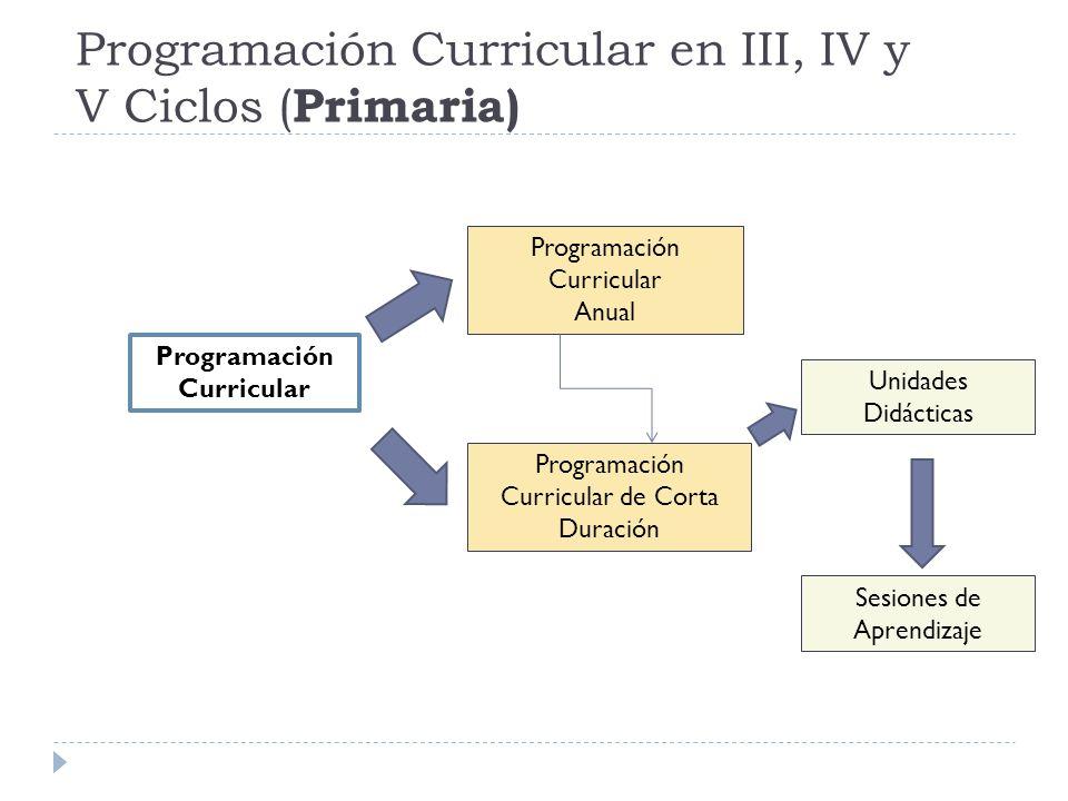 Programación Curricular en III, IV y V Ciclos ( Primaria) Programación Curricular Programación Curricular Anual Programación Curricular de Corta Durac