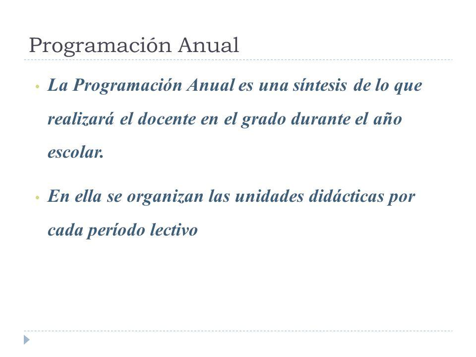 Programación Anual La Programación Anual es una síntesis de lo que realizará el docente en el grado durante el año escolar. En ella se organizan las u