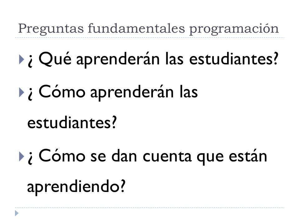 Preguntas fundamentales programación ¿ Qué aprenderán las estudiantes? ¿ Cómo aprenderán las estudiantes? ¿ Cómo se dan cuenta que están aprendiendo?