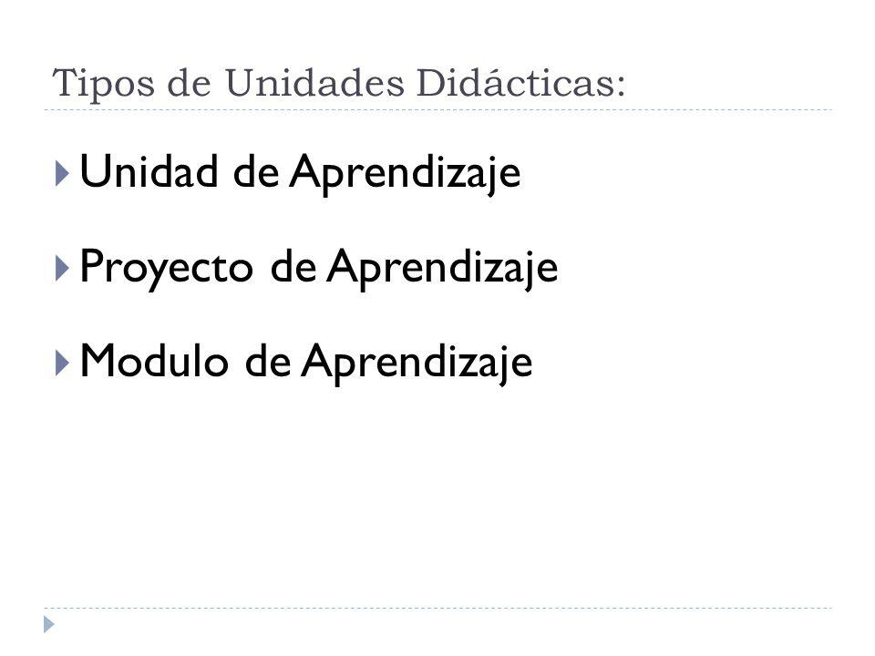 Tipos de Unidades Didácticas: Unidad de Aprendizaje Proyecto de Aprendizaje Modulo de Aprendizaje