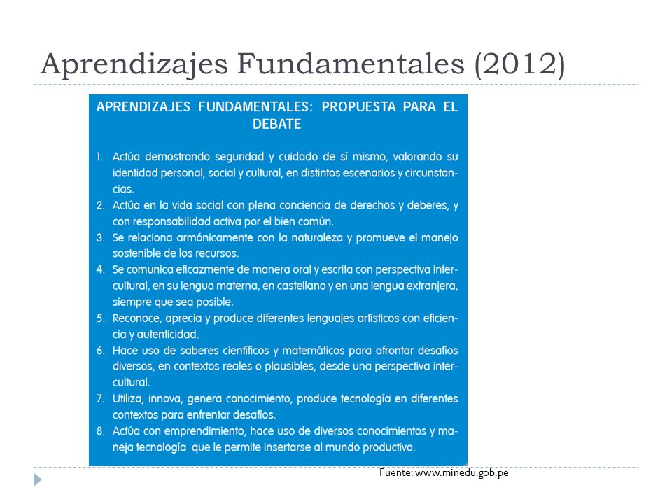 Aprendizajes Fundamentales (2012) Fuente: www.minedu.gob.pe
