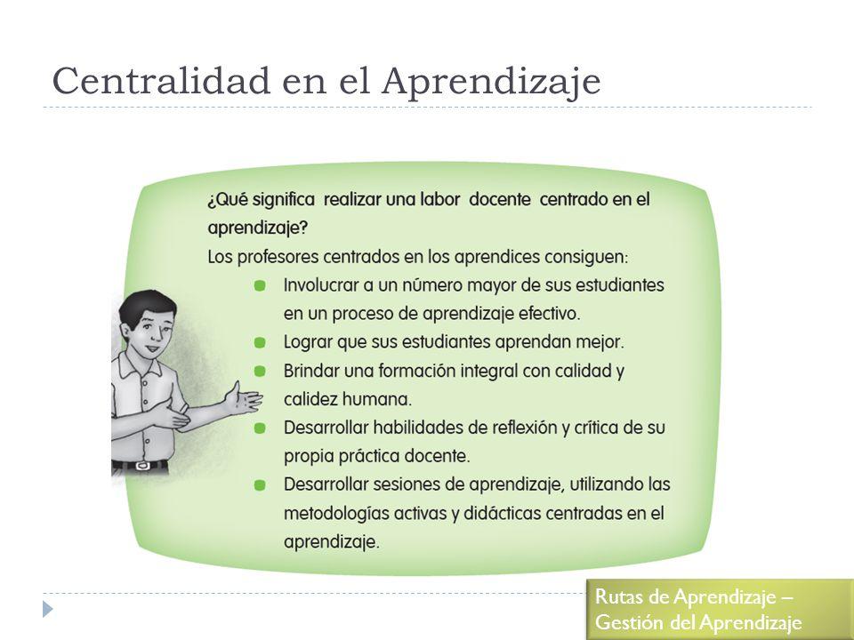 Centralidad en el Aprendizaje Rutas de Aprendizaje – Gestión del Aprendizaje