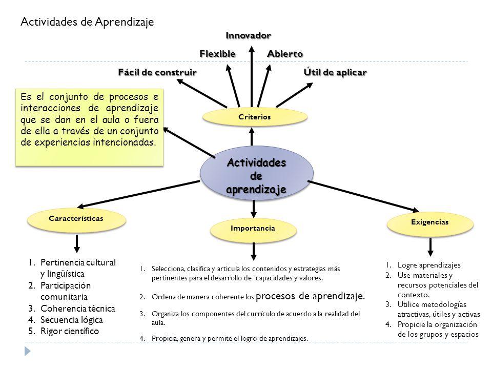 Criterios AbiertoFlexible Innovador Fácil de construir Útil de aplicar Actividades de aprendizaje Importancia Es el conjunto de procesos e interaccion