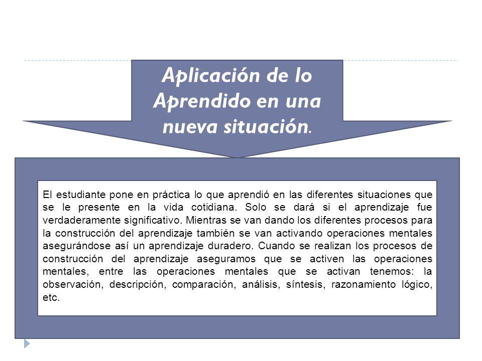 Aplicación de lo Aprendido en una nueva situación. El estudiante pone en práctica lo que aprendió en las diferentes situaciones que se le presente en
