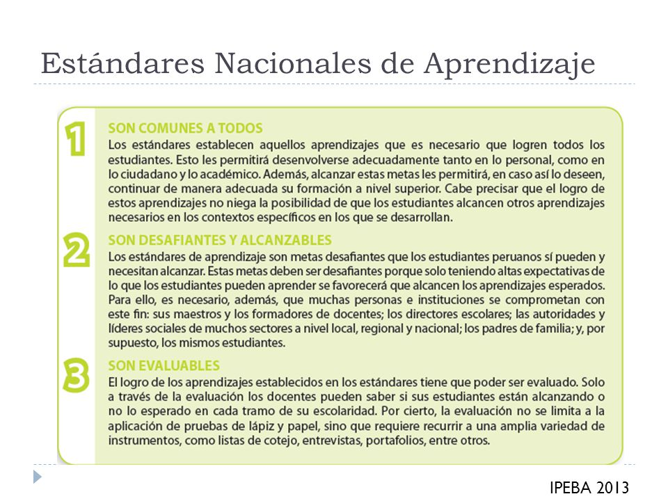 Estándares Nacionales de Aprendizaje IPEBA 2013