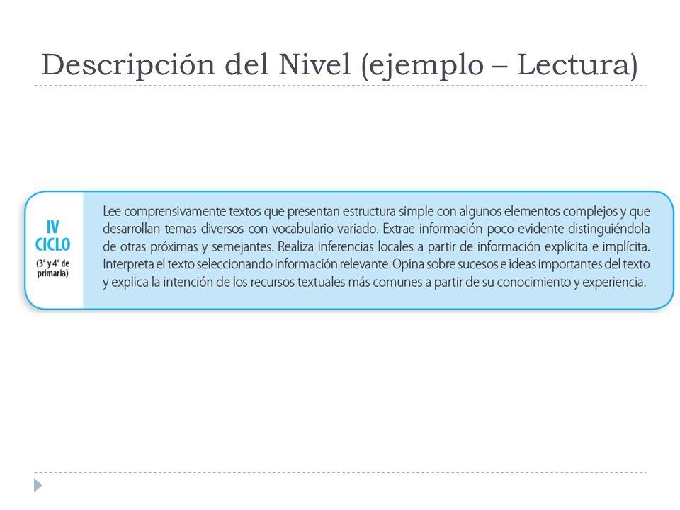 Descripción del Nivel (ejemplo – Lectura)