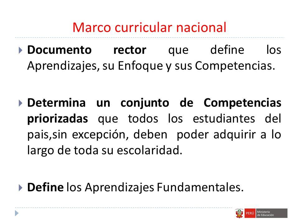 Marco curricular nacional Documento rector que define los Aprendizajes, su Enfoque y sus Competencias. Determina un conjunto de Competencias priorizad