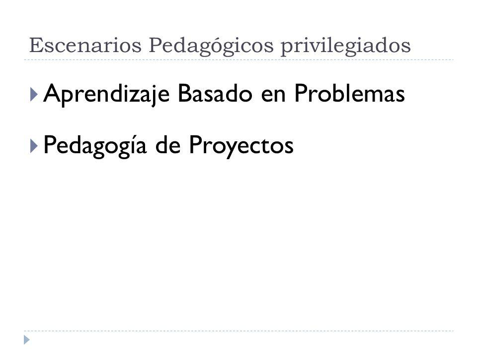 Escenarios Pedagógicos privilegiados Aprendizaje Basado en Problemas Pedagogía de Proyectos