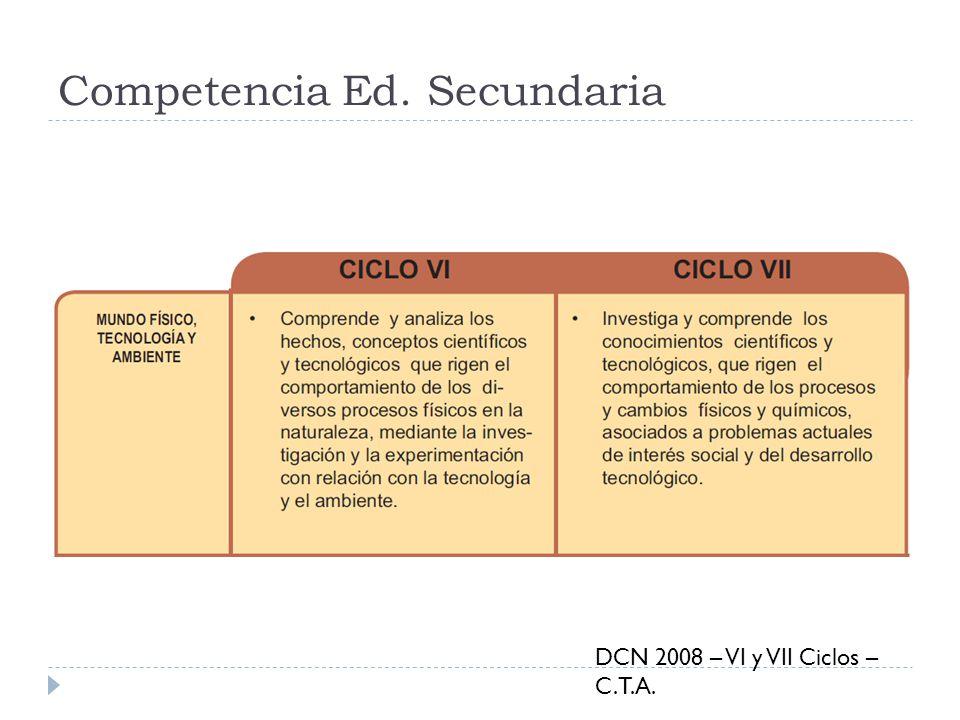 Competencia Ed. Secundaria DCN 2008 – VI y VII Ciclos – C.T.A.