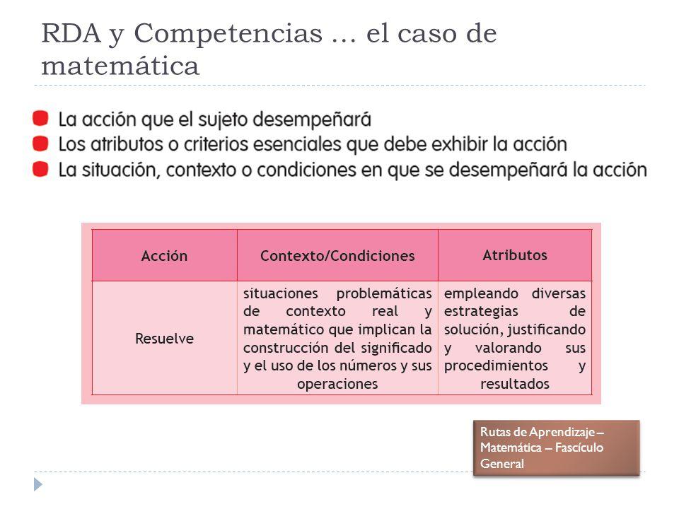 RDA y Competencias … el caso de matemática Rutas de Aprendizaje – Matemática – Fascículo General