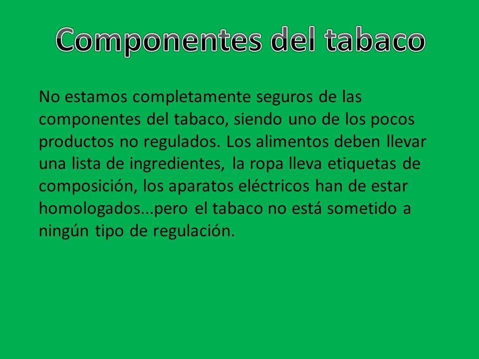 No estamos completamente seguros de las componentes del tabaco, siendo uno de los pocos productos no regulados. Los alimentos deben llevar una lista d