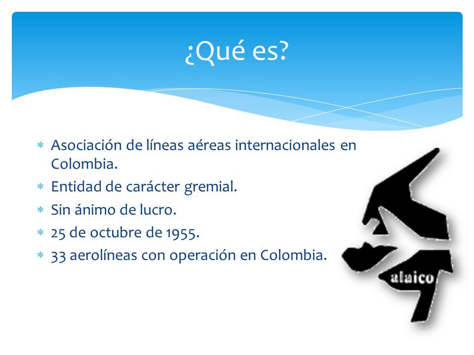 Asociación de líneas aéreas internacionales en Colombia. Entidad de carácter gremial. Sin ánimo de lucro. 25 de octubre de 1955. 33 aerolíneas con ope