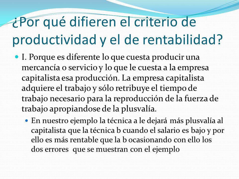 ¿Por qué difieren el criterio de productividad y el de rentabilidad.