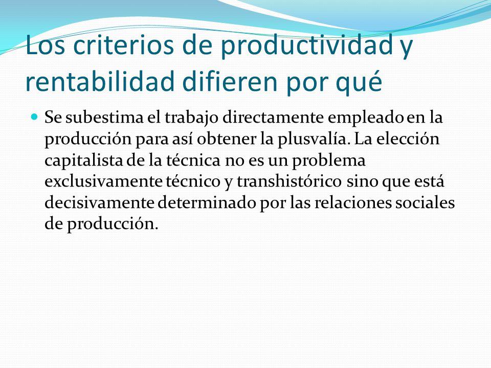 Los criterios de productividad y rentabilidad difieren por qué Se subestima el trabajo directamente empleado en la producción para así obtener la plusvalía.
