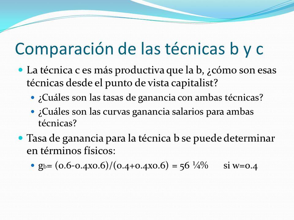 Comparación de las técnicas b y c La técnica c es más productiva que la b, ¿cómo son esas técnicas desde el punto de vista capitalist.