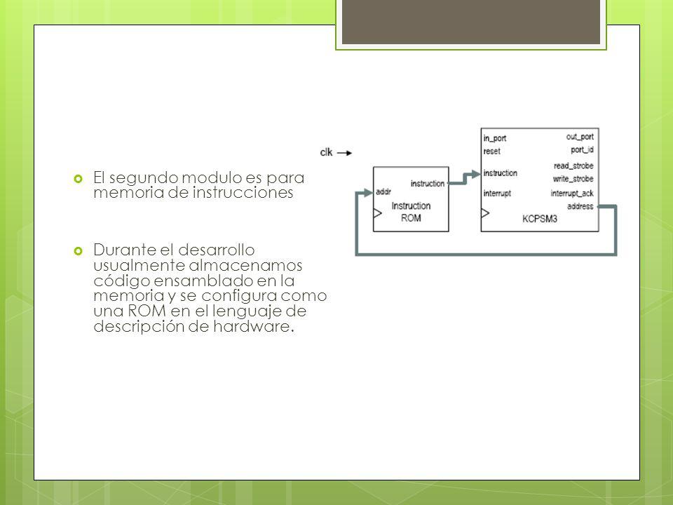 El segundo modulo es para la memoria de instrucciones Durante el desarrollo usualmente almacenamos el código ensamblado en la memoria y se configura como una ROM en el lenguaje de descripción de hardware.