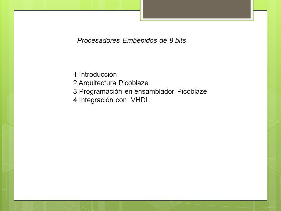 1 Introducción 2 Arquitectura Picoblaze 3 Programación en ensamblador Picoblaze 4 Integración con VHDL Procesadores Embebidos de 8 bits