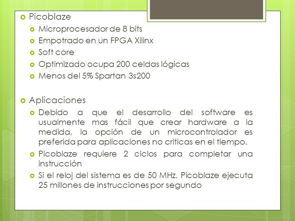Picoblaze Microprocesador de 8 bits Empotrado en un FPGA Xilinx Soft core Optimizado ocupa 200 celdas lógicas Menos del 5% Spartan 3s200 Aplicaciones