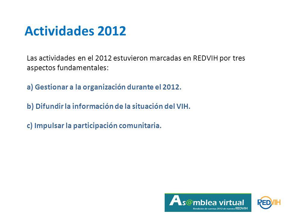 Actividades 2012 Las actividades en el 2012 estuvieron marcadas en REDVIH por tres aspectos fundamentales: a) Gestionar a la organización durante el 2012.