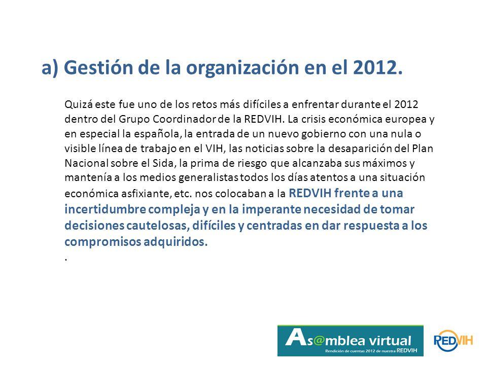 a) Gestión de la organización en el 2012.