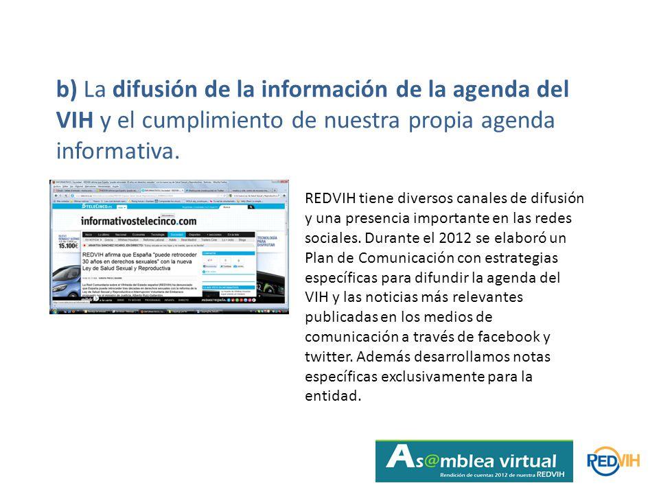 b) La difusión de la información de la agenda del VIH y el cumplimiento de nuestra propia agenda informativa.