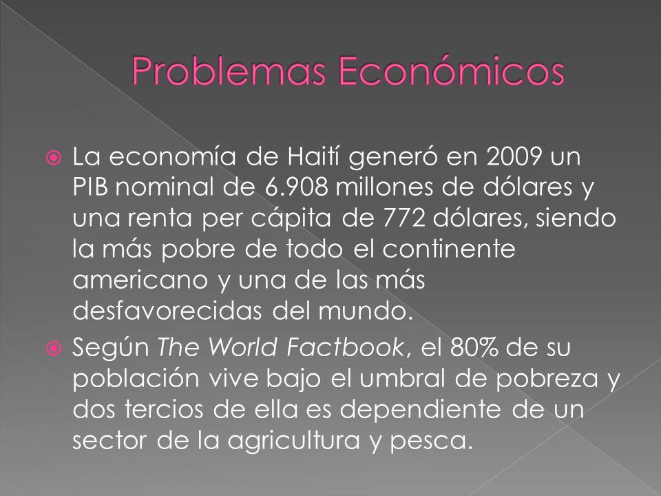 La economía de Haití generó en 2009 un PIB nominal de 6.908 millones de dólares y una renta per cápita de 772 dólares, siendo la más pobre de todo el