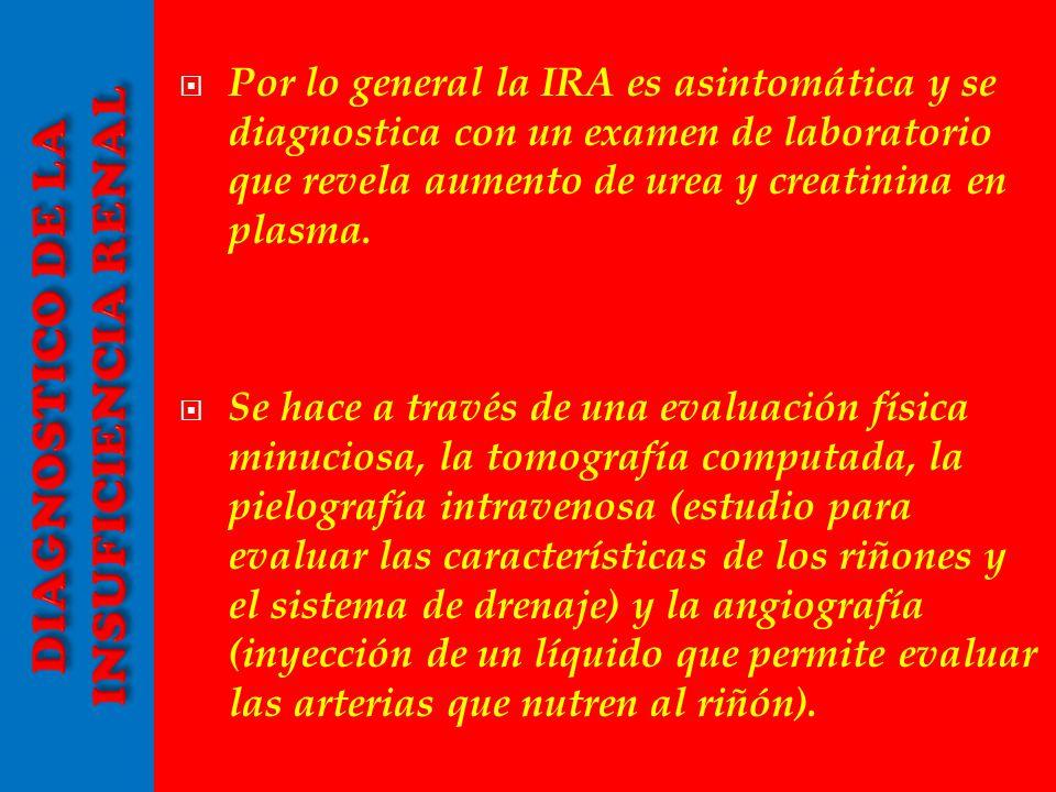 Por lo general la IRA es asintomática y se diagnostica con un examen de laboratorio que revela aumento de urea y creatinina en plasma. Se hace a travé